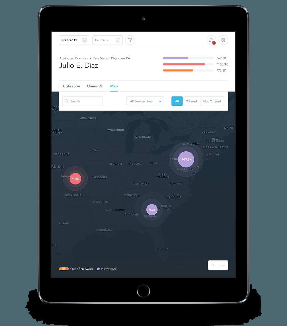 the insurer's mobile app on a tablet