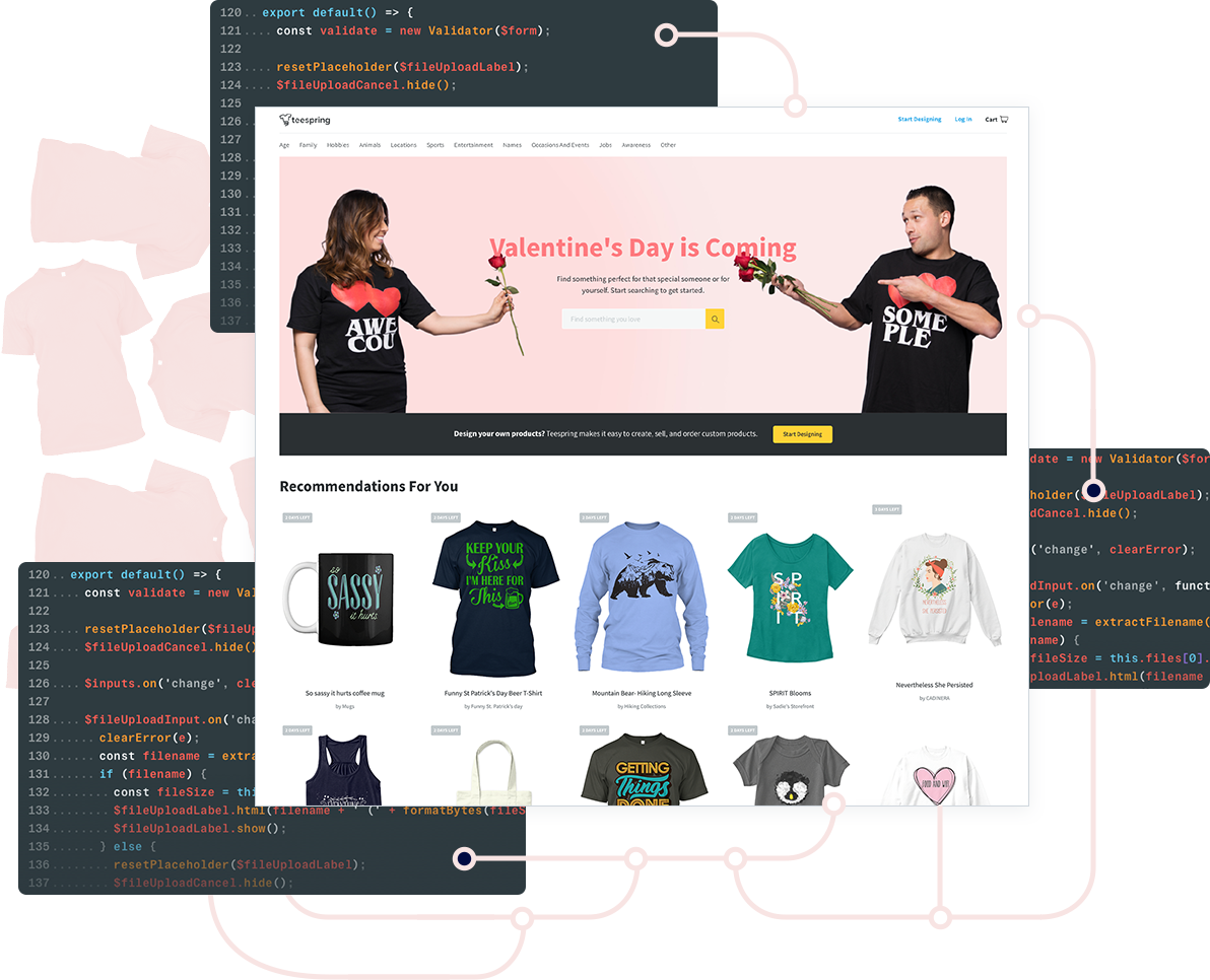 Web application design and coding for Teespring